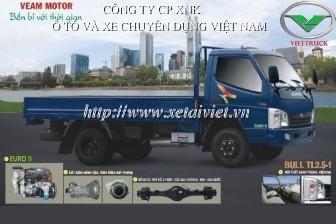xe tải thùng veam 2.5 tấn Bull 2.5T thùng lửng, thùng kín, thùng khung mui phủ bạt, xe satxi bull 2.5t