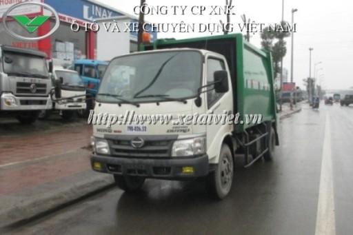 xe ép rác 6 khối đóng trên xe cơ sở hino WU342L HKMRHD3 dung tích thùng rác 6m3
