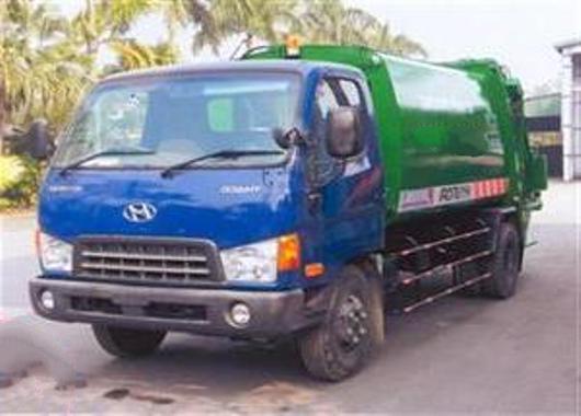 xe cuốn ép rác hyundai 8 khối hd700 thùng cong trơn