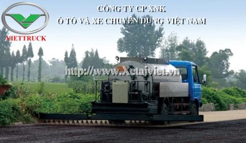 hình ảnh: xe phun rải nhựa đường dung tích bồn 10 khối màu cabin EQ màu xanh téc màu nâu nhìn