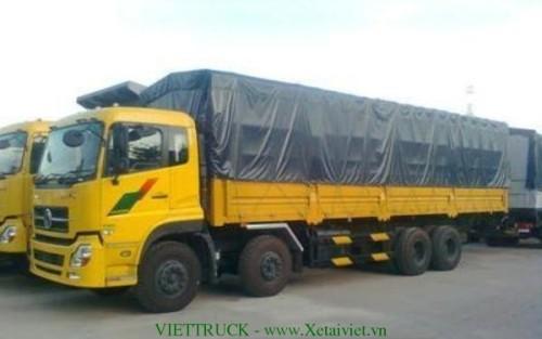 xe tải thùng khung mui phủ bạt đóng trên nền xe tải dong feng 4 chân nhập khẩu