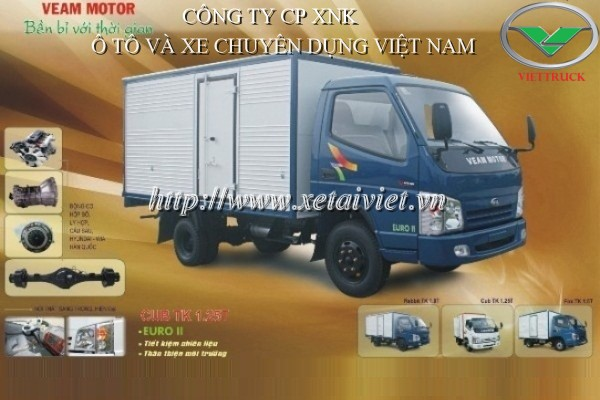xe tải thùng veam cub 1,25 tấn thùng kín