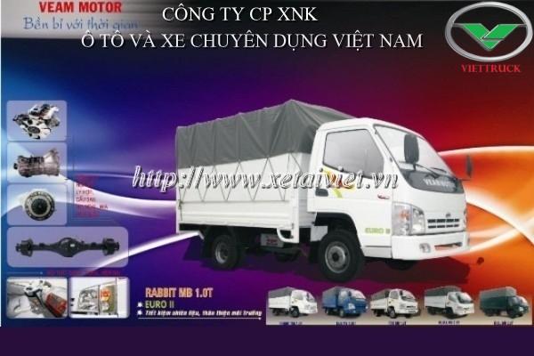 Hình ảnh: Xe tải veam rabbit 990kg thùng mui phủ bạt