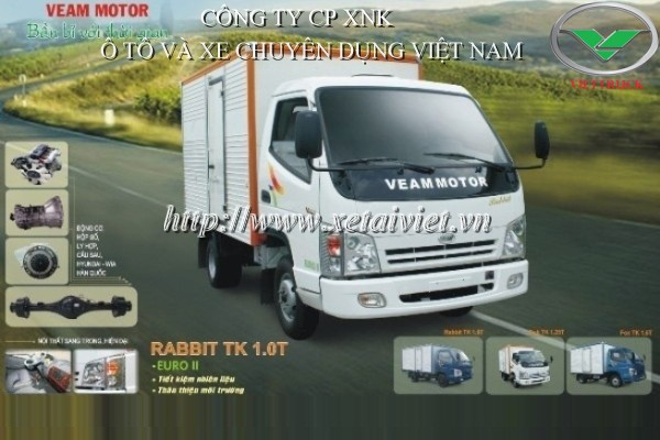 Hình ảnh: Xe tải veam rabbit 990kg thùng kín